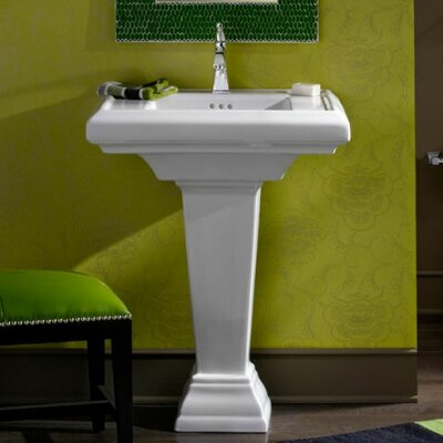 Town Square 24 Pedestal Bathroom Sink with Overflow Sink Finish: Linen, Faucet Mount: Single Hole