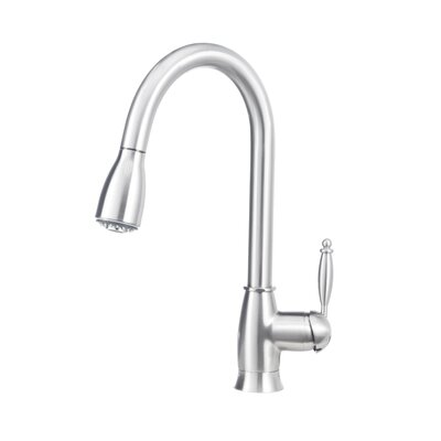 Grace Single Handle Deck Mounted Kitchen Standard Faucet with Dual Pull Down Spray Finish: Satin Nickel