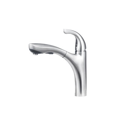 Hiland Single Handle Deck Mounted Standard Kitchen Faucet with Dual Pull Out Spray Finish: Stainless Steel