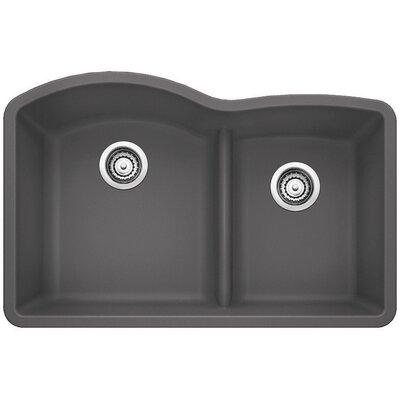 Diamond 32 x 20.88 Low Divide Undermount Kitchen Sink Finish: Cinder