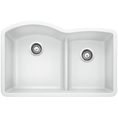 Diamond 32 x 20.88 Low Divide Undermount Kitchen Sink Finish: White
