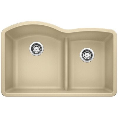 Diamond 32 x 20.88 Low Divide Undermount Kitchen Sink Finish: Biscotti