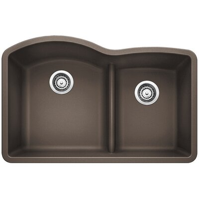Diamond 32 x 20.88 Low Divide Undermount Kitchen Sink Finish: Cafe Brown