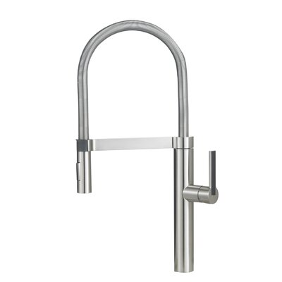 Culina Single Handle Deck Mounted Kitchen Faucet with Dual Spray Finish: Satin Nickel