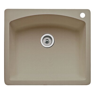 Diamond 25 x 22 Single Bowl Drop-In Kitchen Sink Finish: Truffle