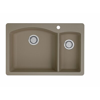Diamond 33 x 22 2 Basin Drop-In Kitchen Sink Finish: Truffle