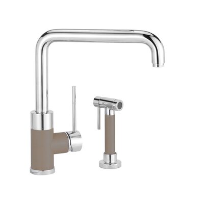 Purus Single Handle Deck Mounted Standard Kitchen Faucet Finish: Truffle, Side Spray Included: Yes