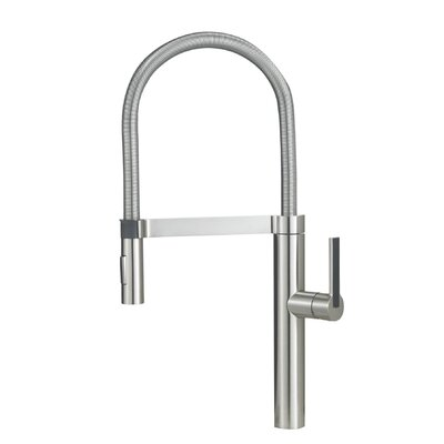 Linus Pull Out Single Handle Kitchen Faucet Finish: Satin Nickel