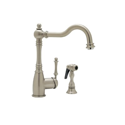 Grace Single Handle Deck Mounted Kitchen Faucet with Side Spray Finish: Satin Nickel