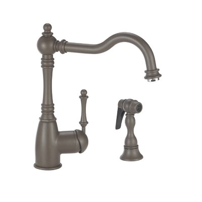 Grace Single Handle Deck Mounted Kitchen Faucet with Side Spray Finish: Cafe Brown