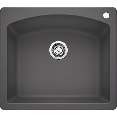 Diamond 25 x 22 Single Bowl Drop-In Kitchen Sink Finish: Cinder