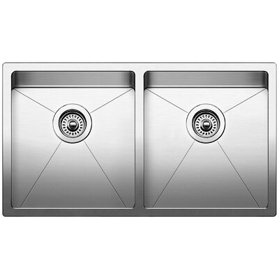 Quatrus 32 x 18 Equal Double Bowl Undermount Kitchen Sink