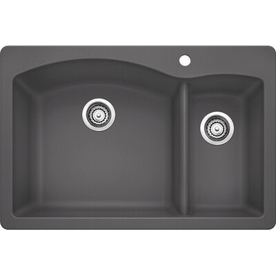 Diamond 33 x 22 2 Basin Drop-In Kitchen Sink Finish: Cinder