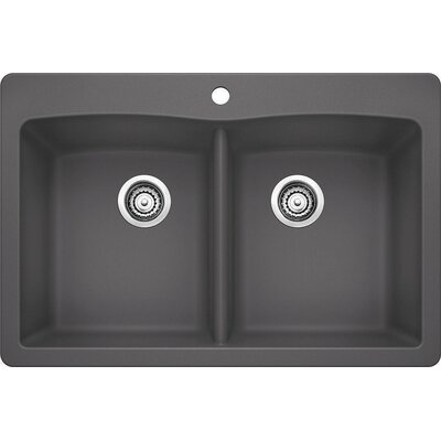 Diamond 33 x 22 Equal Double Bowl Drop-In Kitchen Sink Finish: Cinder