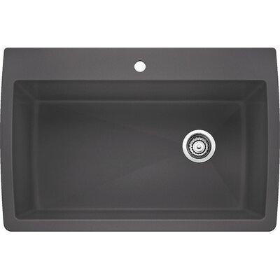 "Diamond 33.5"" x 22"" Super Single Bowl Drop-In Kitchen Sink Color: Cinder 441467"