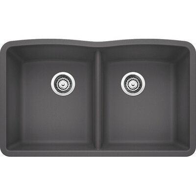 Diamond 32 x 19.25 Equal Double Bowl Undermount Kitchen Sink Finish: Cinder