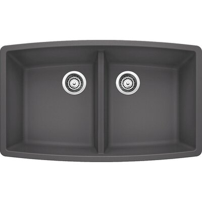 Performa 33 x 20 Double Bowl Kitchen Sink Finish: Cinder