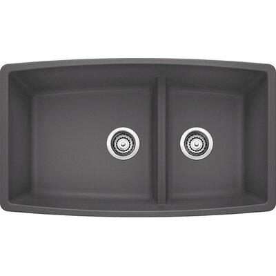 Performa 33 x 19 2 Basin Undermount Kitchen Sink Finish: Cinder