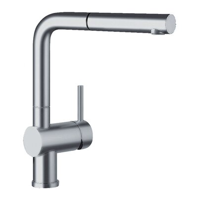 Linus Single Handle Deck Mounted Kitchen Faucet with Pull Out Spray Finish: Satin Nickel