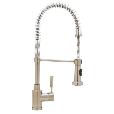 Meridian Pull Down Single Handle Kitchen Faucet Finish: Satin Nickel