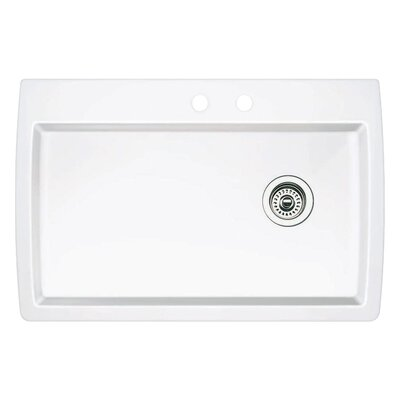 Diamond 33.5 x 22 Single-Basin Granite Drop/Undermount Residential Kitchen Sink Finish: White, Faucet Drillings: 2 hole