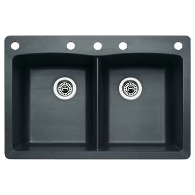Diamond 33 x 22 Double-Basin Granite Drop/Undermount Residential Kitchen Sink Faucet Drillings: 5 hole, Finish: Anthracite