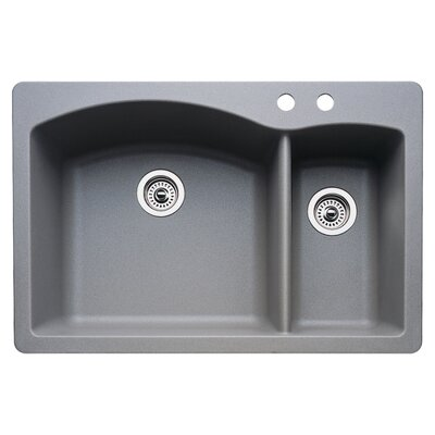 Diamond 33 x 22 Double-Basin Granite Drop/Undermount Residential Kitchen Sink Faucet Drillings: 2 hole, Finish: Metallic Gray