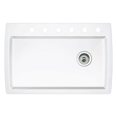 Diamond 33.5 x 22 Single-Basin Granite Drop/Undermount Residential Kitchen Sink Faucet Drillings: 6 hole, Finish: White
