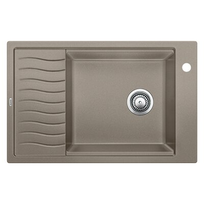 Precision 30.69 x 19.69 Single-Basin Granite Drop/Undermount Residential Kitchen Sink with Drainboard Finish: Truffle, Faucet Drillings: 1 hole