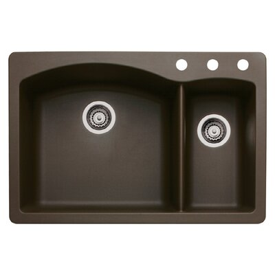 Diamond 33 x 22 Double-Basin Granite Drop/Undermount Residential Kitchen Sink Finish: Cafe Brown, Faucet Drillings: 3 hole