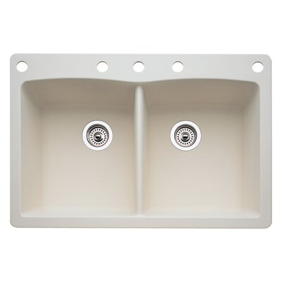 Diamond 33 x 22 Double-Basin Granite Drop/Undermount Residential Kitchen Sink Faucet Drillings: 5 hole, Finish: Biscuit