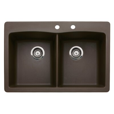 Diamond 33 x 22 Double-Basin Granite Drop/Undermount Residential Kitchen Sink Faucet Drillings: 2 hole, Finish: Cafe Brown