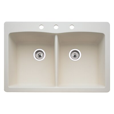 Diamond 33 x 22 Double-Basin Granite Drop/Undermount Residential Kitchen Sink Faucet Drillings: 3 hole, Finish: Biscuit