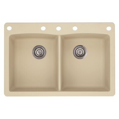 Diamond 33 x 22 Double-Basin Granite Drop/Undermount Residential Kitchen Sink Finish: Biscotti, Faucet Drillings: 5 hole