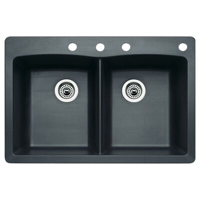 Diamond 33 x 22 Double-Basin Granite Drop/Undermount Residential Kitchen Sink Faucet Drillings: 4 hole, Finish: Anthracite