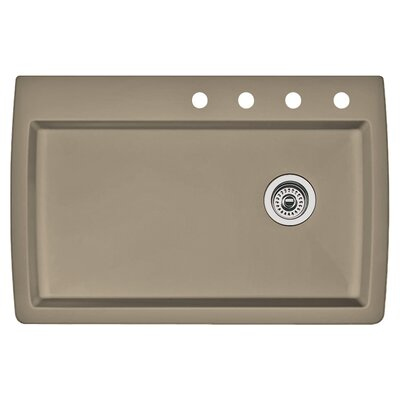 Diamond 33.5 x 22 Single-Basin Granite Drop/Undermount Residential Kitchen Sink Finish: Truffle, Faucet Drillings: 4 hole