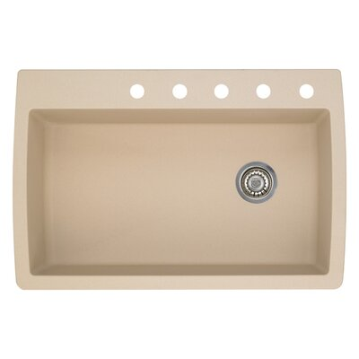 Diamond 33.5 x 22 Single-Basin Granite Drop/Undermount Residential Kitchen Sink Faucet Drillings: 5 hole, Finish: Biscotti