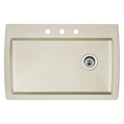Diamond 33.5 x 22 Single-Basin Granite Drop/Undermount Residential Kitchen Sink Finish: Biscuit, Faucet Drillings: 3 hole