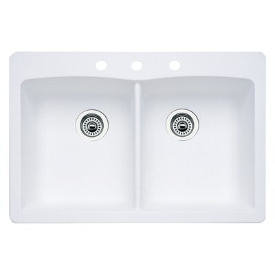 Diamond 33 x 22 Double-Basin Granite Drop/Undermount Residential Kitchen Sink Faucet Drillings: 3 hole, Finish: White