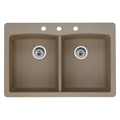 Diamond 33 x 22 Double-Basin Granite Drop/Undermount Residential Kitchen Sink Finish: Truffle, Faucet Drillings: 3 hole