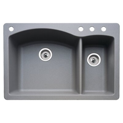Diamond 33 x 22 Double-Basin Granite Drop/Undermount Residential Kitchen Sink Faucet Drillings: 4 hole, Finish: Metallic Gray