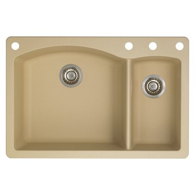 Diamond 33 x 22 Double-Basin Granite Drop/Undermount Residential Kitchen Sink Faucet Drillings: 4 hole, Finish: Biscotti