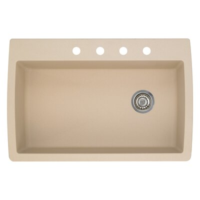 Diamond 33.5 x 22 Single-Basin Granite Drop/Undermount Residential Kitchen Sink Finish: Biscotti, Faucet Drillings: 4 hole