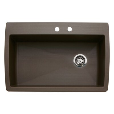 Diamond 33.5 x 22 Single-Basin Granite Drop/Undermount Residential Kitchen Sink Finish: Cafe Brown, Faucet Drillings: 2 hole