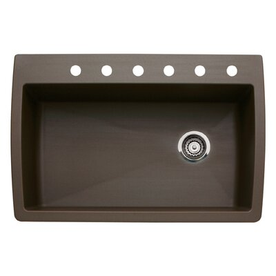 Diamond 33.5 x 22 Single-Basin Granite Drop/Undermount Residential Kitchen Sink Finish: Cafe Brown, Faucet Drillings: 6 hole