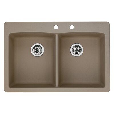 Diamond 33 x 22 Double-Basin Granite Drop/Undermount Residential Kitchen Sink Finish: Truffle, Faucet Drillings: 2 hole