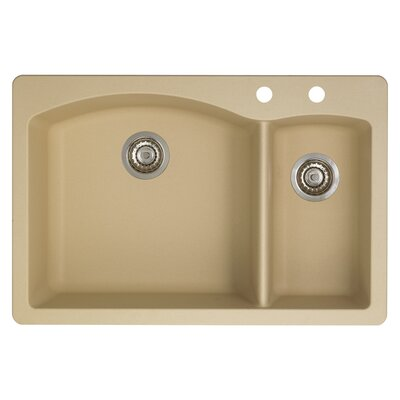 Diamond 33 x 22 Double-Basin Granite Drop/Undermount Residential Kitchen Sink Faucet Drillings: 2 hole, Finish: Biscotti