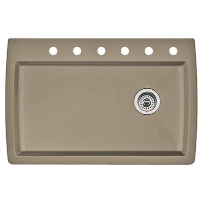 Diamond 33.5 x 22 Single-Basin Granite Drop/Undermount Residential Kitchen Sink Finish: Truffle, Faucet Drillings: 6 hole