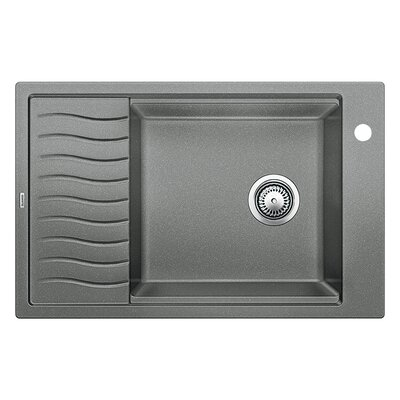 Precision 30.69 x 19.69 Single-Basin Granite Drop/Undermount Residential Kitchen Sink with Drainboard Faucet Drillings: 1 hole, Finish: Metallic Gray