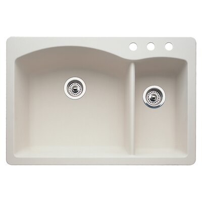 Diamond 33 x 22 Double-Basin Granite Drop/Undermount Residential Kitchen Sink Finish: Biscuit, Faucet Drillings: 3 hole
